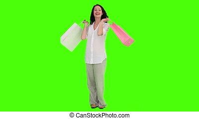 ongedwongen, zakken, shoppen , vrouw