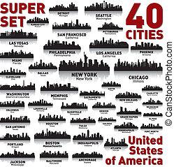 ongelofelijk, staten, verenigd, set., skyline, stad, america.