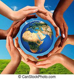 ongeveer, globe, samen, multiracial, handen, wereld