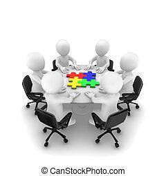 ongeveer, mensen, raadsel, jigsaw, tafel, zittende , 3d