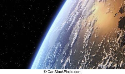 ongeveer, vlucht, aarde