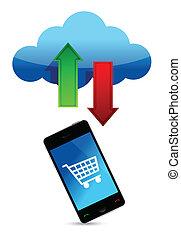 online, wolk, illustratie, shoppen