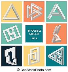 onmogelijk, objects., set, 3.