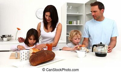 ontbijt, gezin, schattig, hebben