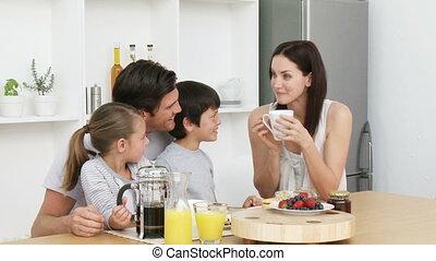ontbijt, hebben, gezin, vrolijke