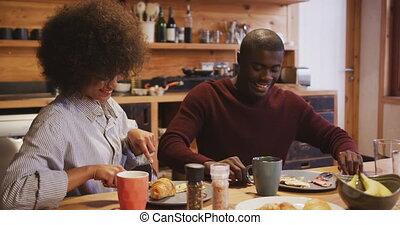 ontbijt, hebben, paar, thuis