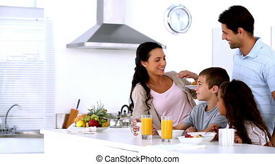 ontbijt, hebben, samen, gezin