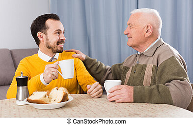 ontbijt, zoon, vader, bejaarden