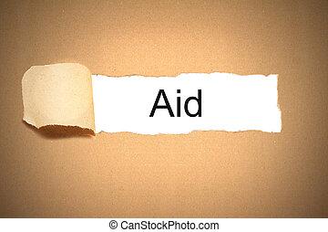 onthullen, ruimte, gescheurd, verpakken, papier, hulp, witte , karton