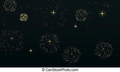 ontploffing, goud, hemel, vuurwerk, nacht, animatie