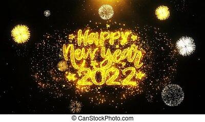 ontploffing, tekst, 2022, particles., vrolijke , vuurwerk, wensen, display, jaarwisseling