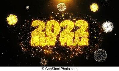 ontploffing, tekst, 2022, particles., vuurwerk, wensen, display, jaarwisseling