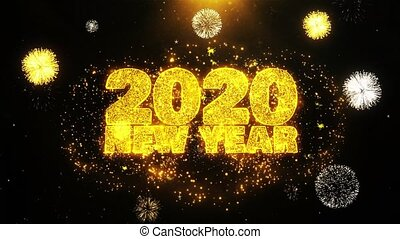 ontploffing, tekst, particles., vuurwerk, 2020, wensen, display, jaarwisseling