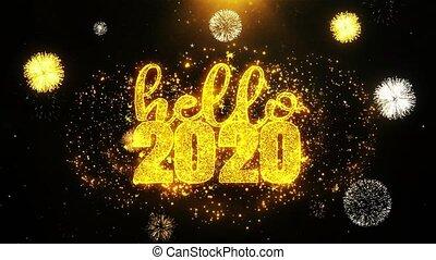 ontploffing, tekst, particles., vuurwerk, 2020, wensen, display, nieuw, hallo, jaar