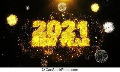 ontploffing, tekst, particles., vuurwerk, 2021, wensen, display, jaarwisseling
