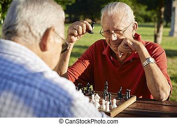 ontslag nam mensen, mannen, park, twee, schaakspel, actieve oudste, spelend