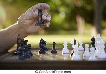 ontslag nam mensen, park, schaakspel, actieve oudste, spelend, man