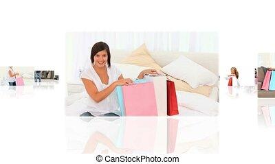 ontspannen, mensen, thuis, montage, hebben, hun, shoppen , gedaan
