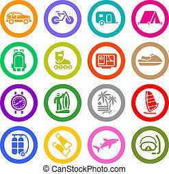 ontspanning, set, &, vakantie, iconen, reizen