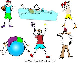 ontspanning sport, spotprent