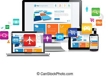 ontvankelijk, ontwerp, apps