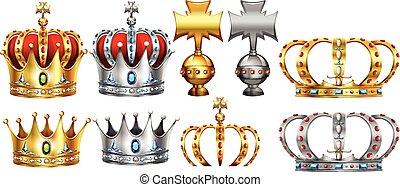 ontwerp, anders, kroon, zilver, goud