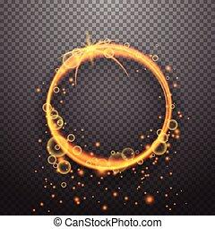 ontwerp, cirkel, effect, het glanzen, licht