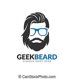 ontwerp, mal, mustache, geek, hipster, baard, logo, bril
