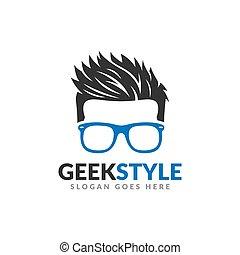 ontwerp, man, mal, logo, geek, hoofd, stijl, haar, bril, koel