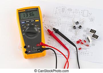 ontwerp, multimeter, elektronisch