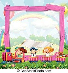 ontwerp, trein, grens, kinderen