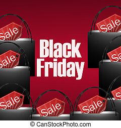 ontwerp, vrijdag, winkeltas, black