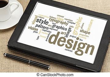 ontwerp, woord, wolk, grafisch