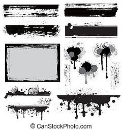 ontwerpen basis, grunge, inkt