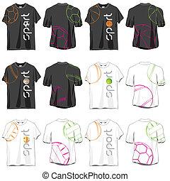 ontwerpen, sportende, set, t-shirts