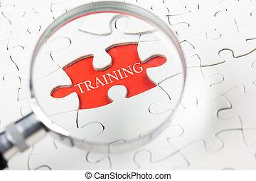 ontwikkeling, opleiding, concept, woord, persoonlijk, raadsel, glas, witte , vergroten