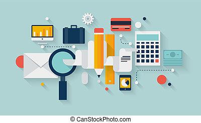 ontwikkeling, planning, financieel, illustratie