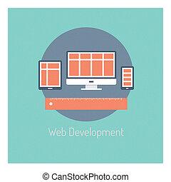 ontwikkeling, web, concept, illustratie