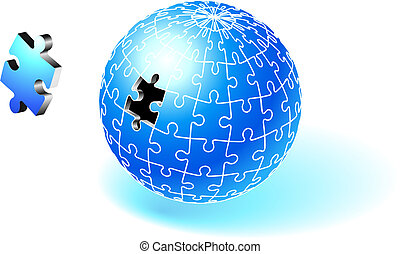 onvolledig, globe, blauwe , raadsel