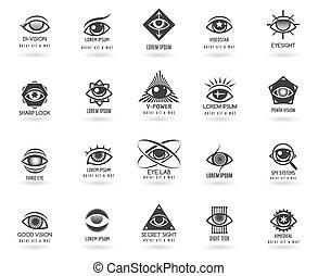 oog, vector, logos, set