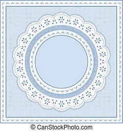 oogje, pastel, blauwe , kant, frame
