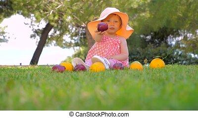 oogsten, achtergrond., yard., concept., herfst, mooi, zomer, gezonde , meisje, kind, vruchten, vrolijk, outdoor., harvesting., kleuterschool, spelend