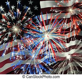 op, 2, vuurwerk, vlag, ons