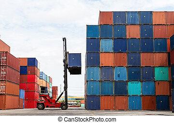 op, container, werf, kraan, het tilen