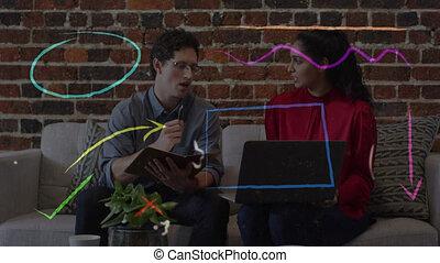 op, draagbare computer, mensen, animatie, kantoor, werkjes, zakelijk, gebruik
