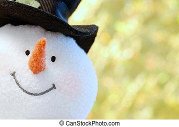 op einde, sneeuwpop, gezicht