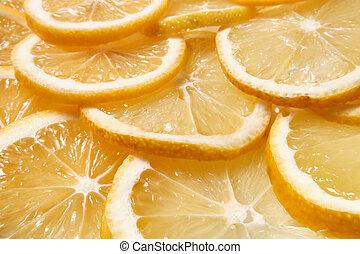 op, fris, citroen snijdt, ronde, afsluiten