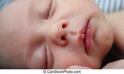 op, gezicht, pasgeboren baby, afsluiten, slapende
