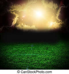 op, gras, wolken, storm, donker, akker