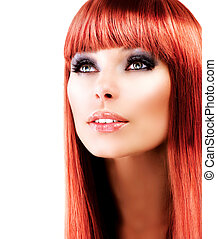 op, haired, achtergrond, model, verticaal, rood wit